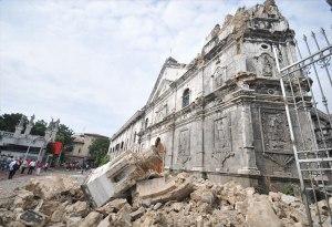 Nakakalungkot na pati ang simbahan ay di pinalagpas ng lindol sa Bohol. (Photo source: www.philstar.com)